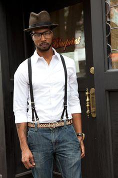 サスペンダー a snap of wearing suspender style Fedora Fashion, Mens Fashion, Trendy Fashion, Sharp Dressed Man, Well Dressed Men, Stylish Men, Men Casual, Streetwear, Outfits With Hats