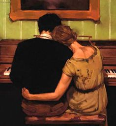 """Playing Their Song"" - Joseph Lorusso (American, b. 1966), oil on panel {figurative #impressionist art couple piano orange people back painting} josephlorussofineart.com"