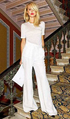 LOVE the look: WIDE legg pants & a simple tee - great clutch - monochomatic <3
