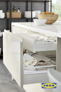 IKEA SEKTION kitchens feature drawers within drawers for the ultimate organization! Organize tools, towels, dinnerware or kitchen gadgets to keep them within reach when you need them and out of site when you don't.