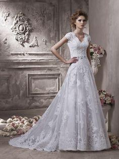 A-line Contoured V-neck Lace Applique Satin Wedding Dress-wa0381, $269.95