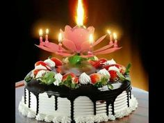 Double Layers Lotus Birthday Candle with Music Rotating Candle happy birthday song - Birthdays Happy Birthday Musik, Happy Birthday Wishes Cake, Happy Birthday Cake Images, Magic Birthday, Happy Birthday Celebration, Beautiful Birthday Cakes, Birthday Songs, Happy Birthday Parties, Birthday Quotes