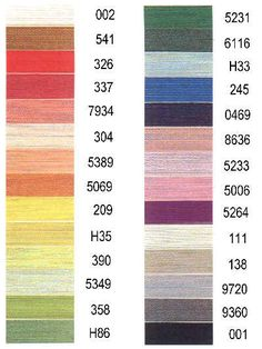 Gudebrod Silk Thread Color Card - Lacis