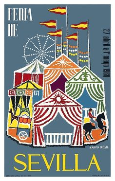 Spain 1960 Seville Festival Poster,intage 1960 whimsical poster by artist A. Martin Cartaya announcing the annual Seville Festival  which is held in the Andalusian capital in Spain.