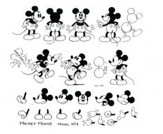Mickey Mouse 'Model Sheet' for animators to reference 1930s Cartoons, Vintage Cartoons, Classic Cartoons, Disney Sketches, Disney Drawings, Cartoon Drawings, Mickey Mouse Cartoon, Vintage Mickey Mouse, Mickey Mouse Sketch