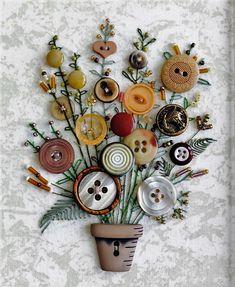 Flower-Button-Art-Card-for-Mothers-Day Kreative Weihnachtskarten Basteln - DIYDE. Crafts To Sell, Crafts For Kids, Arts And Crafts, Paper Crafts, Diy Crafts, Diy Buttons, Vintage Buttons, Crafts With Buttons, Craft Projects