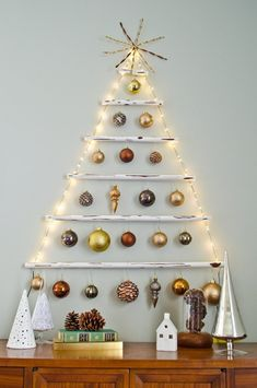 No real Christmas trees this year. Here are alternative Christmas tree ideas that will help you make your home decoration totally unique. Wall Hanging Christmas Tree, Best Christmas Lights, Ribbon On Christmas Tree, Wooden Christmas Trees, Christmas Crafts, Xmas Tree, Holiday Tree, Christmas Ideas, Tree Tree