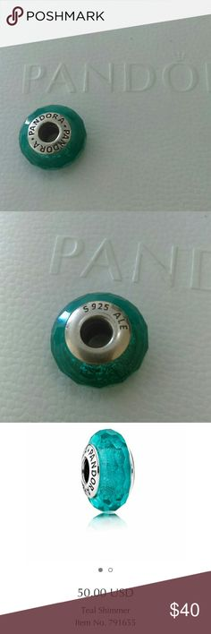 Teal Shimmer Glass Charm NWOT Brand: Pandora Color: teal  Material: glass  Description: glass charm with shimmer Detail: sterling silver hardware Condition: NWOT  I have two available Pandora Jewelry