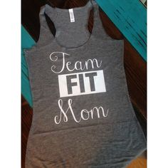 Team Fit Mom Fitness Tank ($20) ❤ liked on Polyvore featuring black, tanks, tops and women's clothing