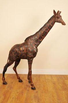 7 Ft Bronze Giraffe Garden Statue.