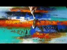 Abstract painting / How to make easy Acrylic abstract demonstration - YouTube