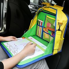 KIPTOP Backseat Car OrganizerKids Play Tray for Snacks Car Bus Train and Plane JourneysTravel Used as a Lap Tray Writing Surface or as Access to Electronics for Kids Age 3 Blue * For more information, visit image link.Note:It is affiliate link to Amazon.