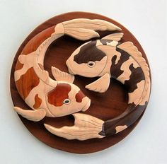Koi Fish Intarsia Wall Hanging