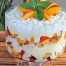 Tipsy Trifle with Peaches and Cream Recipe
