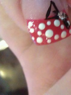 Wedding day Minnie mouse nails