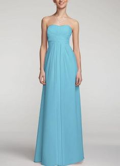 Long Strapless Chiffon Dress with Pleated Bodice - David's Bridal- mobile