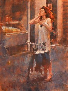 Storch J Crandall. Genre Thin Lady with a Bicycle by James Crandall Oil Painting People, Figure Painting, Bicycle Art, Traditional Paintings, Color Stories, Beautiful Paintings, Art World, Figurative Art, Female Art
