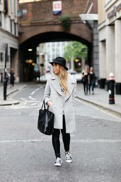 Grey coat, leather pants, black Converse, Celine Gusset cabas bag