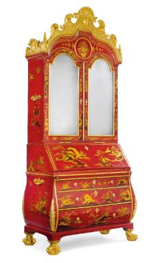 A rare and important German Baroque parcel-gilt and scarlet-japanned bureau cabinet Dresden, circa 1730