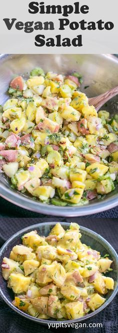 No vegan mayo, no tofu, no cashews, no blender. this dairy-free, egg-free potato salad is made with a creamy olive oil herb dressing and Potato Salad No Mayo, Vegan Potato Salads, Potato Salad Mustard, Potato Salad Dressing, Potato Salad Recipe Easy, Potato Salad With Egg, Tofu, Dairy Free Eggs, Egg Free