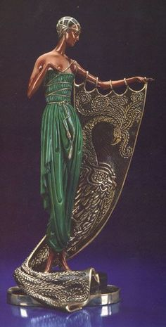 Emerald Night Bronze Art Deco Sculpture by Erte cold-painted Belle Epoque, Arte Art Deco, Estilo Art Deco, Statues, Art Nouveau, Statue Art, Erte Art, Romain De Tirtoff, Goldscheider