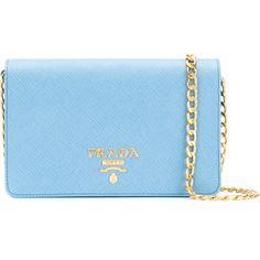 Prada Saffiano flap clutch ($1,220) ❤ liked on Polyvore featuring bags, handbags, clutches, blue, prada handbags, blue leather handbags, prada pochette, real leather handbags and leather purses