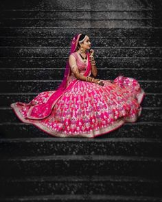 Deciding that perfect colour for bridal lehenga is a very difficult task to do. Pink colour is known as a colour of romance and sweetness Pink Bridal Lehenga, Pink Lehenga, Bollywood Lehenga, Bridal Poses, Bridal Portraits, Bridal Lehngas, Half Saree Designs, Asian Bride, Bride Look