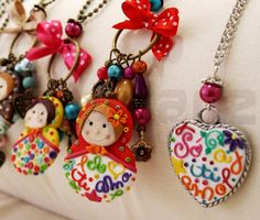 Polymer clay necklaces by Susana Alves