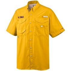 Columbia LSU Men's Big And Tall Collegiate Bonehead Short Sleeve Shirt by Columbia. $30.25. Part of the Performance Fishing Gear (PFG) Collection, the Columbia Collegiate Bonehead Short Sleeve Shirt for Men is a short sleeve shirt to keep you cool on those hot days on the water. Special pockets, loops and other features keep your tackle at hand so you can focus on the big catch. Support your team on campus, at the stadium or in the great outdoors