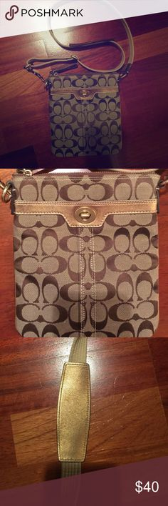 Coach signature cross body with gold details Coach crossbody bag in excellent used condition (no signs of wear at all). Color is tan with brown monogram pattern and gold accents on the front pocket, zipper, and shoulder straps. Coach Bags Crossbody Bags