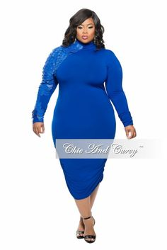 Plus Size BodyCon Dress with Ruched Sides and Layered Faux Leather Sleeves in Blue - Chic And Curvy Curvy Women Fashion, Plus Size Fashion, Fashion Models, Ladies Fashion, Plus Size Bodycon Dresses, Sexy Dresses, Beach Dresses, Casual Plus Size Outfits, Chic And Curvy