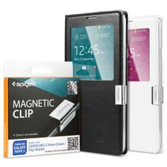 Amazon.com: Spigen Samsung Galaxy Note 3 Flip Cover [Magnetic Clip] Magnetic Holder for Samsung S View Cover / Flip Cover for Samsung Galaxy...