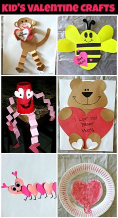 Tons of Valentines day crafts for kids! #DIY #Valentine art projects (Bears, bees, monkeys, caterpillars, ladybugs, dogs, owls, fish and more!) | http://www.sassydealz.com/2014/01/list-of-diy-valentines-day-crafts-for.html: