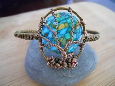 Tree of Life Wire Wrapped Cuff Bracelet Mosaic Stabilized Turquoise Handmade in Vintaj Brass and Antique Copper Parawire $33.77