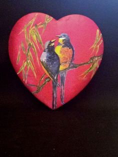 Vtg Old Fashioned Fabric Covered Valentine's Candy Box w/Handpainted Robins
