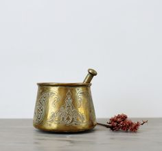Vintage Brass Arabic Mortar And Pestle - Apothecary Mortar and Pestle Set - Pharmacy Mortar - Kitchen Grinder by Suite22 on Etsy