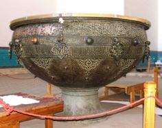 Tai Kazan at Khozha Akhmet Yassau's mosleum in Turkestan,Kazakhstan was built in 1399 .It's 2.2 metre and weigh 2 tonnes
