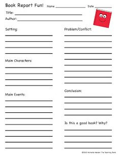 Elementary Book Report Template On Book Report Worksheet Printable