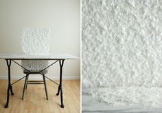 Snowy Photo Backdrop - instead of using regular or tacky glue, maybe using spray adhesive would work just as well. :)
