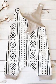 Handmade Organic Mudcloth Print Romper | FigsAndFoxes on Etsy