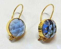 Blue Topaz hydro bezel 925 silver gold plated earring gemstone fashion jewelry  #Handmade #plain