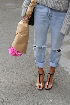 Flowers and bf jeans