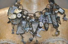 Susan Lenart Kazmer- necklace of charms and Talismans, ice resin and slk hobnail bezels, shaker box pendant Soldering Jewelry, Resin Jewelry, Jewelry Crafts, Jewelry Art, Jewelry Ideas, Jewellery, Jewelry Mirror, Resin Necklace, Jewelry Design