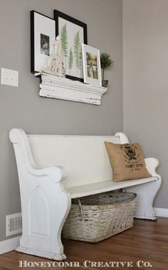 I wanted one in the and now I want one again. Church pew would be great i. I wanted one in the and now I want one again. Church pew would be great in the entryway. Church Pew Bench, Church Pews, Church Foyer, Decoration Entree, Entryway Decor, Entryway Paint, Home Projects, Farmhouse Decor, Farmhouse Bench