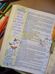 A Palette Full of Blessings......Journaling Bible....I uses a few stamps,colored pencils & sharpie fine pin.