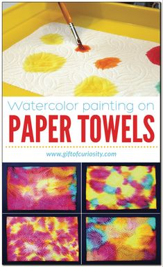 Watercolor painting on paper towels is part of Preschool art activities - Use liquid watercolor paints to make beautiful artwork on paper towels Liquid Watercolor, Watercolor Paintings, Painting Art, Watercolor Art Kids, Sponge Painting, Painting Process, Gouache Painting, Painting Techniques, Watercolor Paper