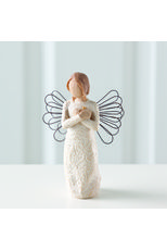 Willow Tree Remembrance Angel Figurine.   Each original #WillowTree #sculpture is hand carved by artist Susan Lordi. Using #family and #friends as models, Susan's goal is to capture a moment in time or express an intimate feeling. Pieces are cast from her original carving and individually painted by hand. Softly washed colors, carved and metal accents, and representative icons of #nature add depth and sentimentality to this beloved line. #Angel #Rememberance