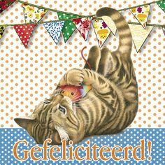 Spelende kat onder feestslingers- Greetz