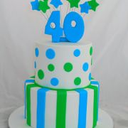 2 Tiered striped and polka dot cake decorated with sugar star bursts. Please allow a minimum of 10 days prior to the occasion. It's Your Birthday, Birthday Cakes, Polka Dot Cakes, Whoopie Pies, Cake Shop, Custom Cakes, How To Make Cake, Birthday Celebration, Catering