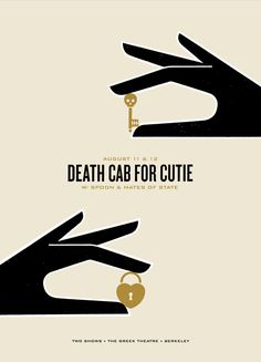 Death Cab for Cutie gig poster. Designed by The Small Stakes for a show at the Greek Theatre